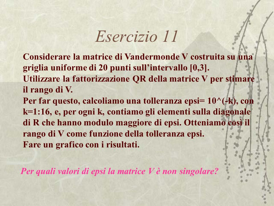 Esercizio 11 Considerare la matrice di Vandermonde V costruita su una griglia uniforme di 20 punti sull'intervallo [0,3].
